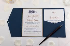 Sample Of Wedding Invatation Brig O Doon Wedding Invitation In Navy Blue Pocketfold Sample Com