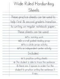 Handwritting Practice Wide Ruled Handwriting Practice Sheets