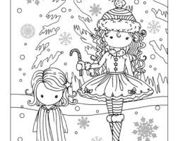 Girl And Fawn In Snow Coloring Page Printable Instant Etsy