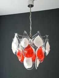 white glass chandelier vintage red and by for 5 milk