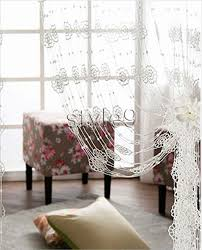 white crochet panel knitted flowers string curtain
