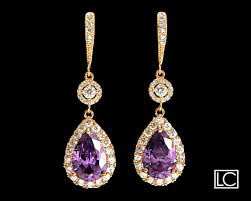 amethyst crystal gold chandelier earrings free us ship purple gold earrings amethyst teardrop halo earrings purple bridal wedding earrings 37 90 usd