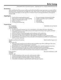 resume for restaurant resume for food services restaurant food service combination resume