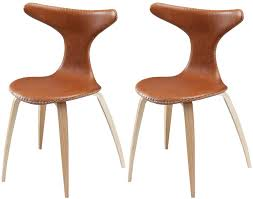 dolphin light brown leather dining chair with oak and walnut legs set of 4