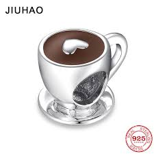 <b>New Fashion 925 Sterling</b> Silver Love Free time Heart Coffee Cup ...