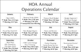 Hoa Annual Operations Calendar Cac Mgmt