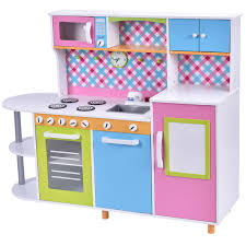 costway new wood kitchen toy kids cooking pretend play set toddler wooden playset gift com