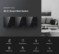 US$ 16.99 - <b>SONOFF T3EU TX</b> Smart Wifi Wall Touch Switch Black ...