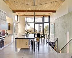 Example Of A Coastal Galley Concrete Floor Eat In Kitchen Design In San  Francisco With