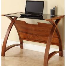 cohen curve laptop table small in black glass top and walnut