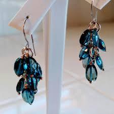 london blue topaz earrings topaz dangle earrings 14k white gold london blue chandelier earrings blue and white long cer earrings