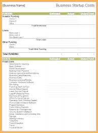 Business Plan Startup Costs Template Medium To Large Size Of