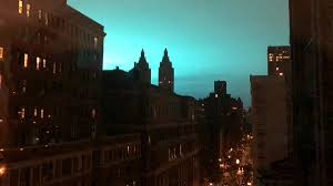 Con Edison Light Blue Light Appears Above New York After Transformer