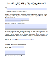 Free Eviction Notice Template Sample Eviction Notice Form Free Missouri Eviction Notice Templates Mo Eviction Process
