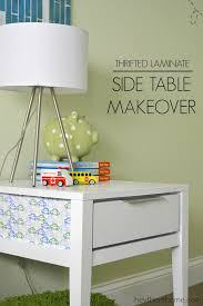 laminate furniture makeover. Can Not Believe How This $5 Side Table Makeover Turned Out! Love The Fabric Detail Laminate Furniture