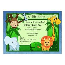 Jungle Theme Birthday Invitations Jungle Theme 1st Birthday Invitation