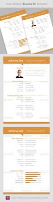 Clean Modern Resume Cv Indesign Template Indesign Indd Simple