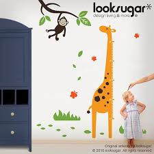 Giraffe Growth Chart Wall Decal With Monkey And By