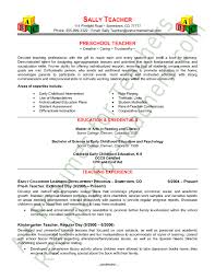 Preschool Teacher Resume Example Examples Of Resumes For Teachers On