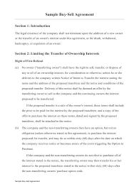 Sample Buy Sell Agreement Template Download Printable Pdf