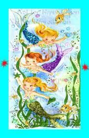 s443 Cute BABY MERMAIDS Quilting Fabric by wwwvintagemermaidcom ... & Hey, I found this really awesome Etsy listing at https://www. Mermaid  QuiltMermaid FabricMermaid ... Adamdwight.com