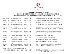 PRIZES AWARDED AT THE ENGLAND GOLF SOUTH REGION WOMEN AND GIRLS CHAMPIONSHIP