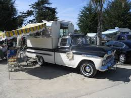 Vintage Truck Camper Shell 1959 chevy pickup truck   on the road ...
