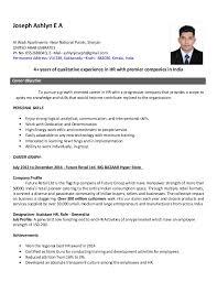 Resume Hr Generalist Marvelous Resume Sample For Human Resource