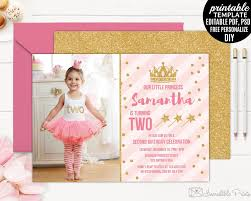 Girl Birthday Invitation Template Blush Pink Girl Birthday Invitation Template Printable