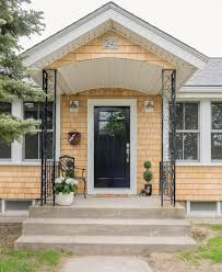 simple entryway design that plays on color contrasts exterior