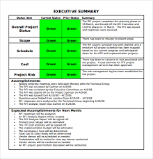 executive summary format for project report sample summary report template
