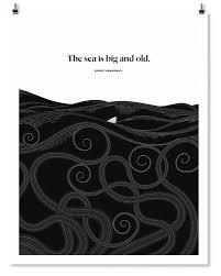 Ernest Hemingway Quotes Literary Art Print Nautical Decor