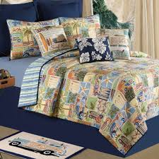 the coastline beach themed bedding with mat and curtain for bedroom decoration ideas
