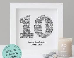 10th anniversary gift word art printable gift framed print 10 year anniversary 10th wedding anniversary tin anniversary wife