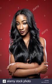 black beautiful woman with long luxurious shiny hair stock image