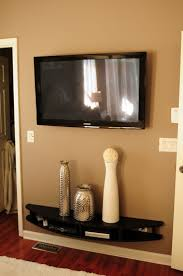 ... Shelving Under Wall Mounted Tv Arched Black Stained Wooden Shelf With  Contemporary Design 17 Best Ideas ...