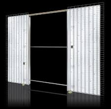 sliding door pocket system light brick wall double opening opening light56 light