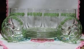 clear glass dessert plates green gooseberry sherbet bowls glasses antique clear glass dessert plates