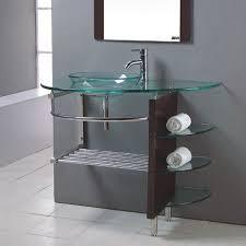 clear vessel sink. Brilliant Clear Modern Bathroom Glass Bowl Clear Vessel Sink Vanity W Shelfs Faucet 27   Modern U0026 Wood 25  To Clear Vessel