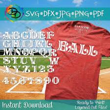 Vinyl Baseball Shirt Designs Baseball Svg Baseball Font Alphabet Baseball Letters Numbers Svg Png Dxf Pdf For Cricut Silhouette Studio Vinyl Decal Shirt Design