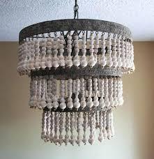 wood bead chandelier pottery barn farmhouse white wood blue the block earrings lighting bead chandelier pottery
