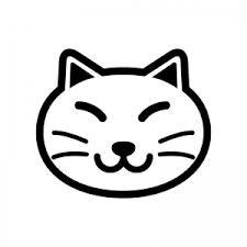 猫の顔のシルエット02 無料のaipng白黒シルエットイラスト