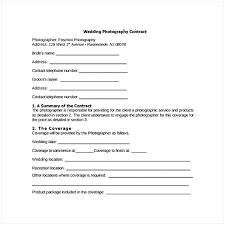 Photography Forms Templates Wedding Contract Template Uk Free