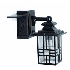 hampton bay mission style black with bronze highlight outdoor wall lantern with built in electrical gfci 30264 the home depot