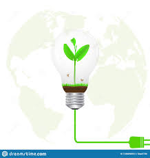 Green Energy Lighting Green Sprout In Light Bulb Connected To Electrical Plug On
