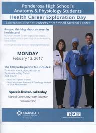 club med mr burghardtponderosa high schoolshingle springs ca click here to view the flyer marshall s health career exploration
