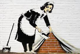 Banksy Maid Sweeping Under the Carpet Wall Mural Wallpaper | Canvas Art  Rocks