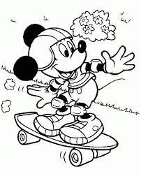 Small Picture Mickey Mouse With His Skateboard Coloring Page Online For Kids