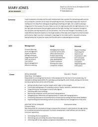 Retail Manager Cv Template Resume Examples Job Description