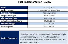 Post Implementation Review Template Project Management Templates